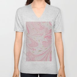 Elegant blush pink gold yellow abstract watercolor marble Unisex V-Neck