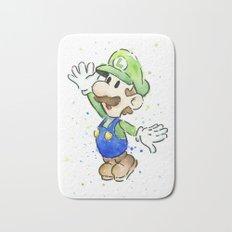 Luigi Watercolor Mario Nintendo Art Bath Mat