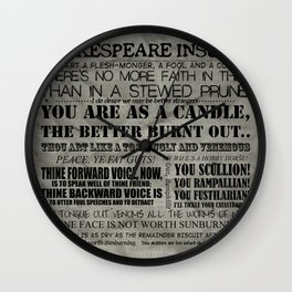 Shakespeare Insults Wall Clock