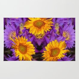 YELLOW SUNFLOWERS AMETHYST FLORALS Rug