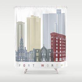 Fort Worth skyline poster Shower Curtain