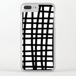 Black and white doodle stripes Clear iPhone Case