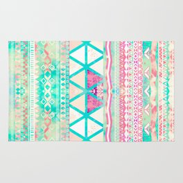 Pink Teal Aztec Pattern Triangles Girly Watercolor Rug