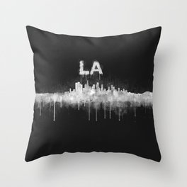 Los Angeles City Skyline HQ v5 WB Throw Pillow