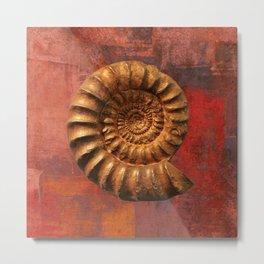 Ammonite fossil, prehistoric life, fossil art Metal Print