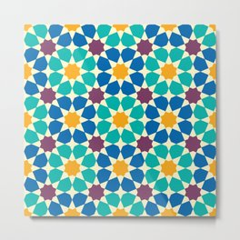 Moroccan pattern, Morocco. Patchwork mosaic with traditional folk geometric ornament Metal Print