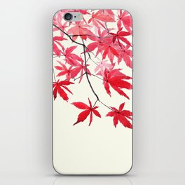 red maple leaves watercolor painting iPhone Skin