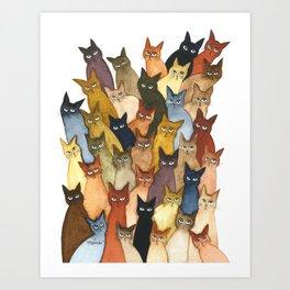 Many Whimsical Cats Art Print