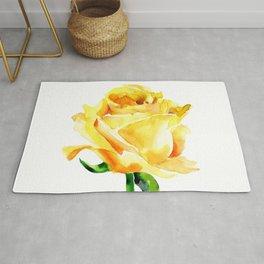 Single Yellow Rose Watercolour Painting Rug