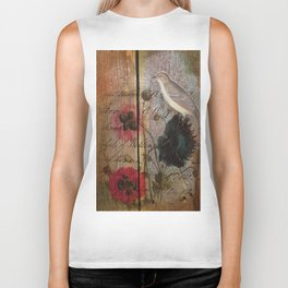 wood grain vintage bird french scripts poppy flower botanical art Biker Tank