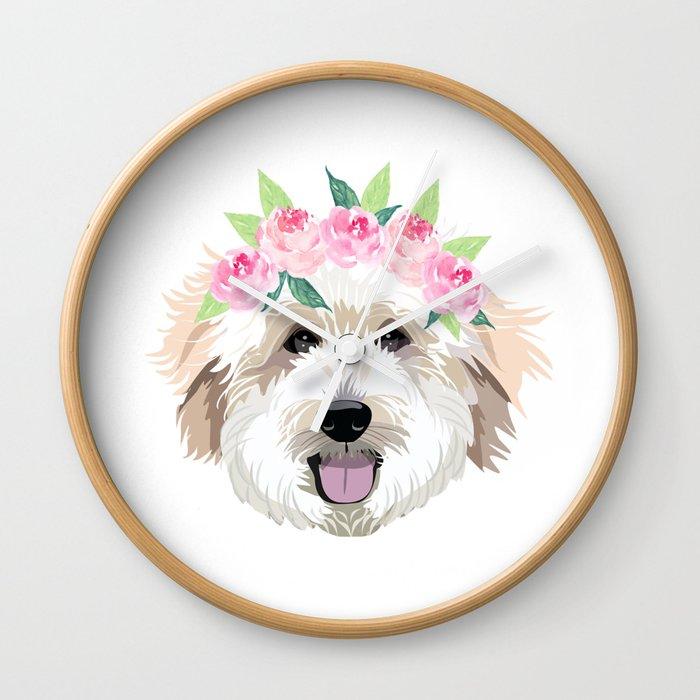 Golden Doodle dog - dog portrait, dog face, golden doodle, doodle dog, dog,  dogs, dog fabric Wall Clock by petfriendly