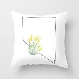 nevada // watercolor sagebrush state flower map Throw Pillow