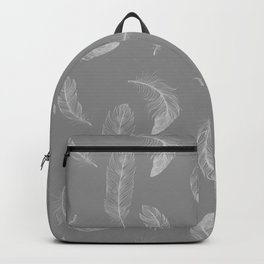 Soft Grey Softly Falling Feathers Backpack
