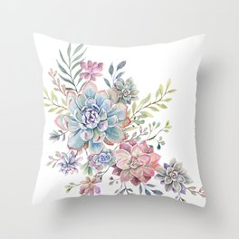 succulent watercolor 6 Throw Pillow