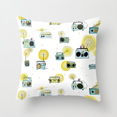 Listen Up! Radio Birds Throw Pillow