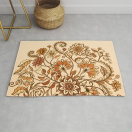 Jacobean Inspired Floral Doodle in Neutral Woodland Colors Rug