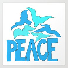 Peace in blue and green Art Print