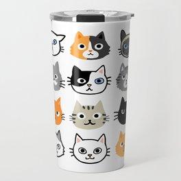 Cute Cats | Assorted Kitty Cat Faces | Fun Feline Drawings Travel Mug