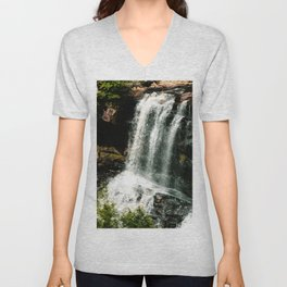 Waterfall in the Mountains Unisex V-Neck