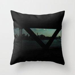 dark bridge nyc Throw Pillow