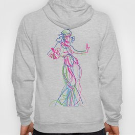 Tribal fusion dance color power. Abstract. Neon glowing  gesture sketch Hoody