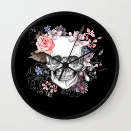Dia Los Muertos, Floral Skull Wall Clock