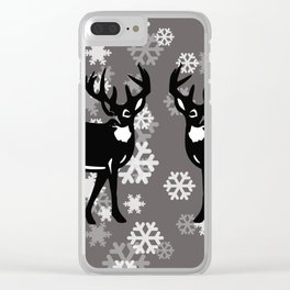 White Snowflakes with tow Reindeer - grey Christmas Design Clear iPhone Case