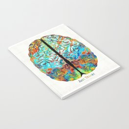 Colorful Brain Art - Just Think - By Sharon Cummings Notebook