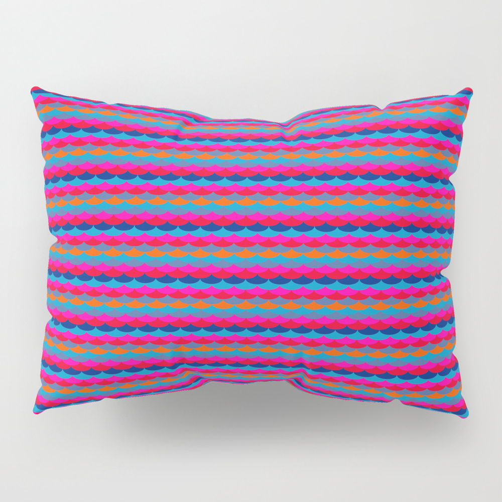 """""go Bold Or Go Home"""" Vibrant Mermaid Scallop Strip… Pillow Sham by Magentarose"" PSH7895363"