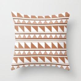 Aztec Brown-Cream Triangles Pattern Throw Pillow