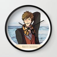 iwatobi Wall Clocks featuring Makoto Tachibana by Nowhere Little Girl