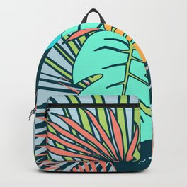 Tropical leaves blue Backpack