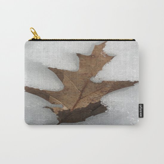 leaf in snow Carry-All Pouch