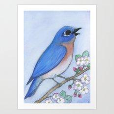Bluebird & Blossoms Art Print