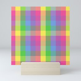Rainbow check Pattern Mini Art Print