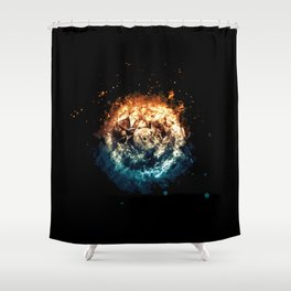 Burning Circle - Fire and Ice - Isolated Shower Curtain