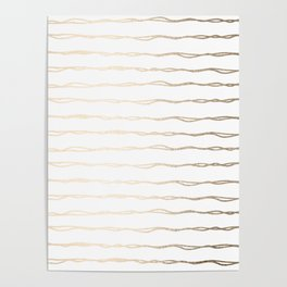Simply Wavy Lines in White Gold Sands on White Poster