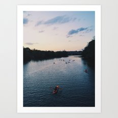 Twilight Kayakers Art Print