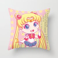 sailor moon Throw Pillows featuring Sailor Moon by strawberryquiche