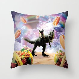 Space Pug Riding Dinosaur Unicorn - Hotdog & Taco Throw Pillow