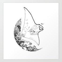 Manta Line Art Art Print