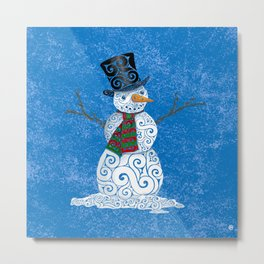 Swirly Snowman Metal Print