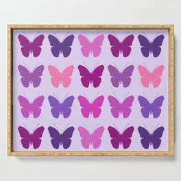 Butterly Silhouettes 3x3 Pinks Purples Mauves Serving Tray