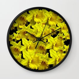 YELLOW SPRING KING ALFRED DAFFODILS ON BLACK Wall Clock