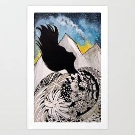 Woman in the Mountains Art Print