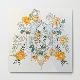 Two Birds In a Garden Metal Print