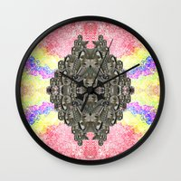monika strigel Wall Clocks featuring Monika by Ancient Origin