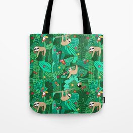 Sloths in the Emerald Jungle Pattern Tote Bag