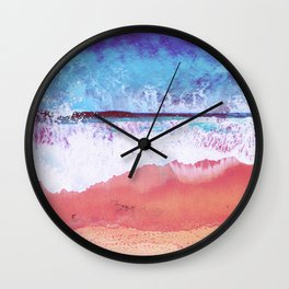 Abstract sea waves, ocean art colorful red blue Wall Clock