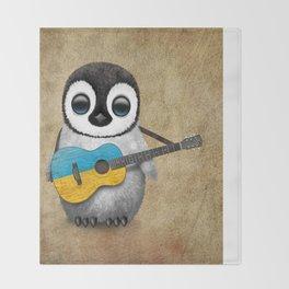 Baby Penguin Playing Ukrainian Flag Guitar Throw Blanket